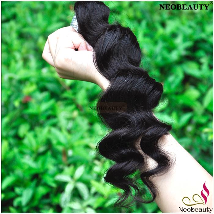 Neobeauty Hair Unprocessed 6A Peruvian Loose Wave Hair Weaves ,1pc/lot Tangle Fress Peruvian Virgin Hair Loose Wave Color 1B(China (Mainland))