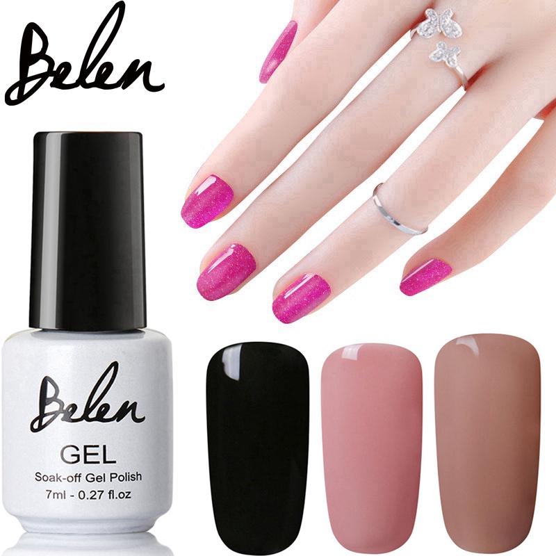 Belen 7ml Pure Black Color UV Nail Gel Polish Varnish UV LED Gel Base Top Coat UV Lamp Nail Art Design Hot Sale Nail Gel Lacquer(China (Mainland))