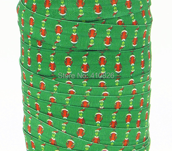 WM ribbon wholesale/OEM 5/8inch 140810002 Christmas Print folded over elastic FOE Ribbon 50yds/roll free shipping(China (Mainland))