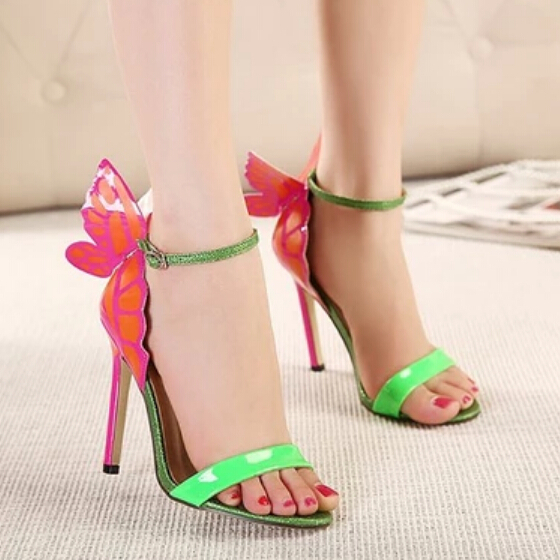 2015 New Brand Designer Ladies Pums Women High Heel Shoes Sandals Fashion Sexy Buckle Strap Thin Heel Butterfly NightClub Shoes(China (Mainland))