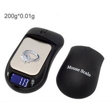 Profesional ratón balanza Digital & Safe con Stash ocultar 200 g x 0.01 g escala del bolsillo de peso con forma del ratón negro
