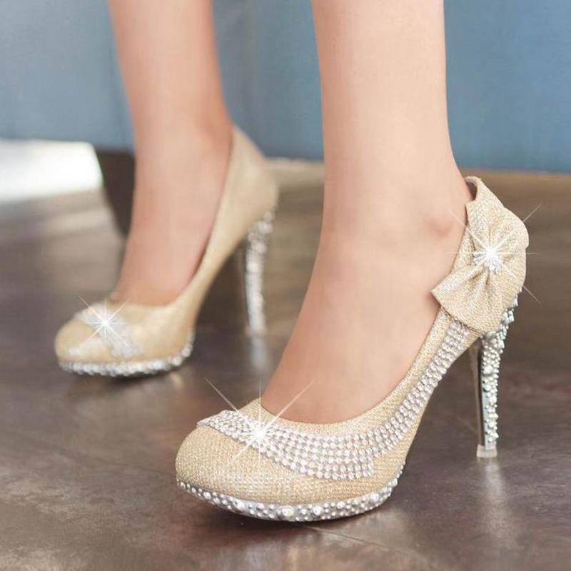 2015 New Spring summer Women shoes high heels Pumps Platforms Bowtie Rhinestone Glitter Red Gold Fashion Wedding shoes RL1007 N(China (Mainland))
