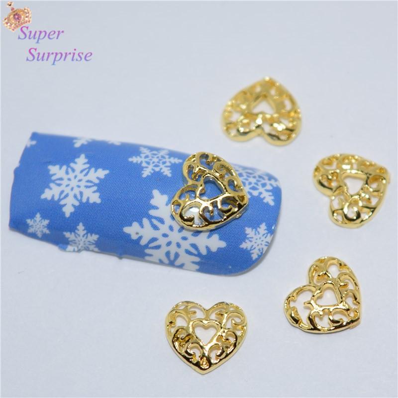 10pcs Manicure Golden Love heart 3D Nail Art Decoration,Alloy Nail Charms, Nails Glitter Rhinestones Nail Supplies SS313