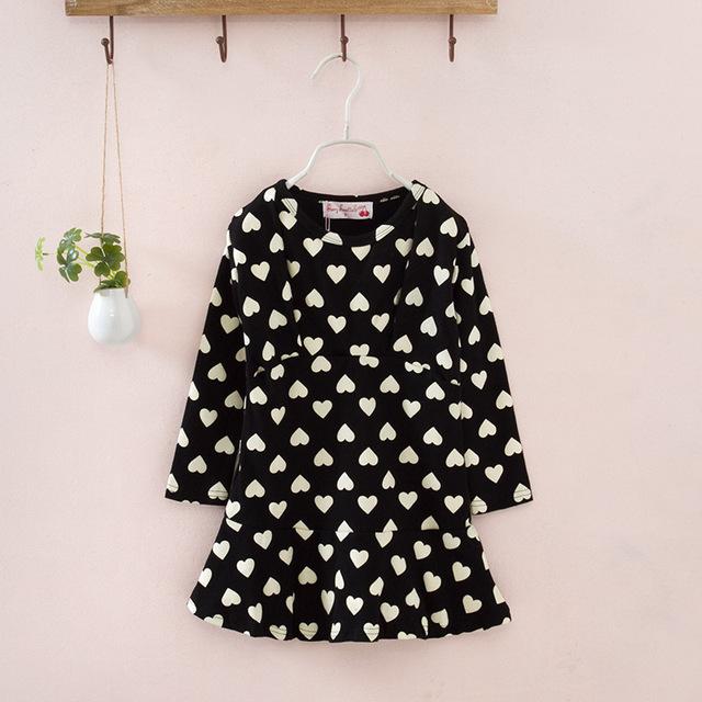 2016 новый платье ребенка свободного покроя с длинным рукавом одежда форме сердца платья мини наряды мода детей весной одежды