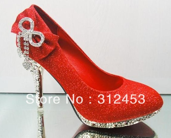 2013 hot Bowknot shoes Red color Women's High-heeled Dress Shoes bride wedding shoes. - Trade-sunglasses store