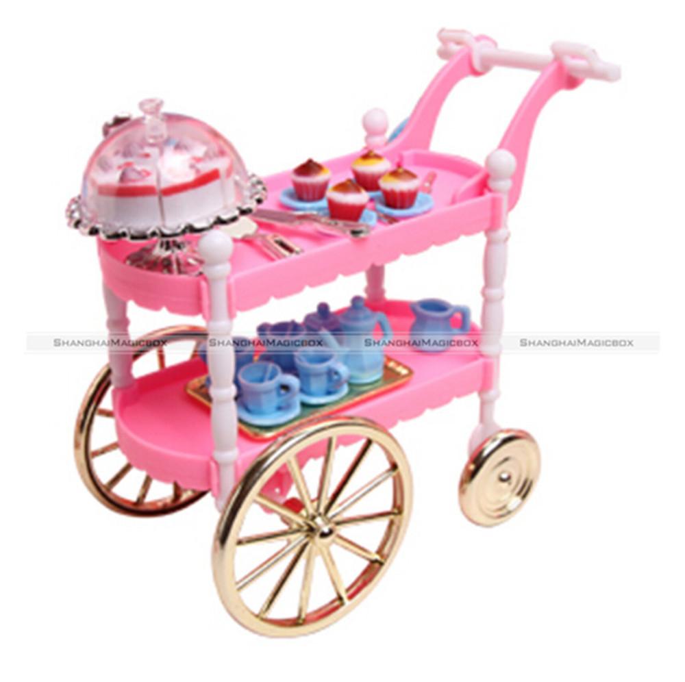 New Children Play Set Doll Furniture Tea Wagon Server Cart For Fashion Doll Free Shipping KTK(China (Mainland))