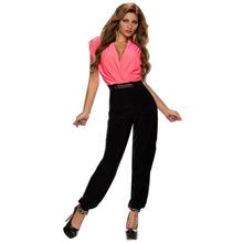 R70004 Hot sale solid v-neck full length bodysuit 2015 high quality belted high-waist romper top selling elegant jumpsuit