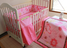 Promotion! embroidered Baby Bed Crib Sets Children Bedding 100% Cotton,include(bumper+duvet+bed cover+bed skirt+diaper bag) - World Ms. Woo store