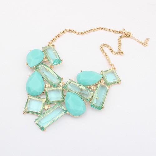 Brand Design Korean Fashion Elegant Generous Square Rectangular Water Droplets Geometric Necklace Statement Wholesale 2014 PT34