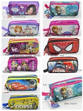 2015Hot Sale Boys and Girls violetta sofia spider monster 10 desgins school supplies Pencil Case with 2 zippers free shipping