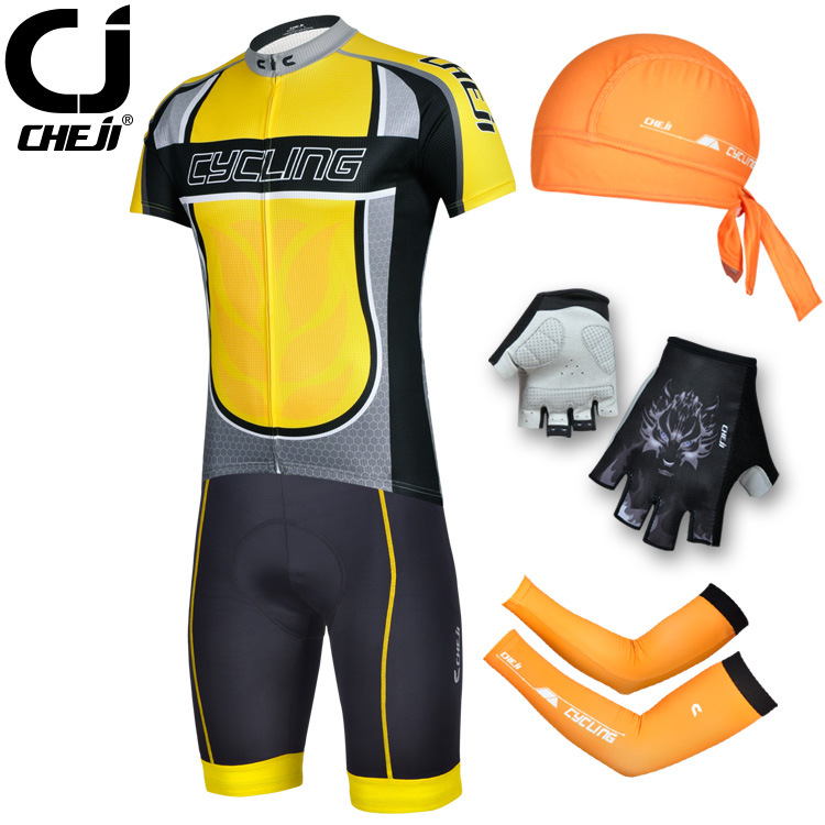 Здесь можно купить  The legend of Cheji yellow outdoor bicycle clothes three sets of underwear elastic cuff scarf three piece fast dry  Спорт и развлечения