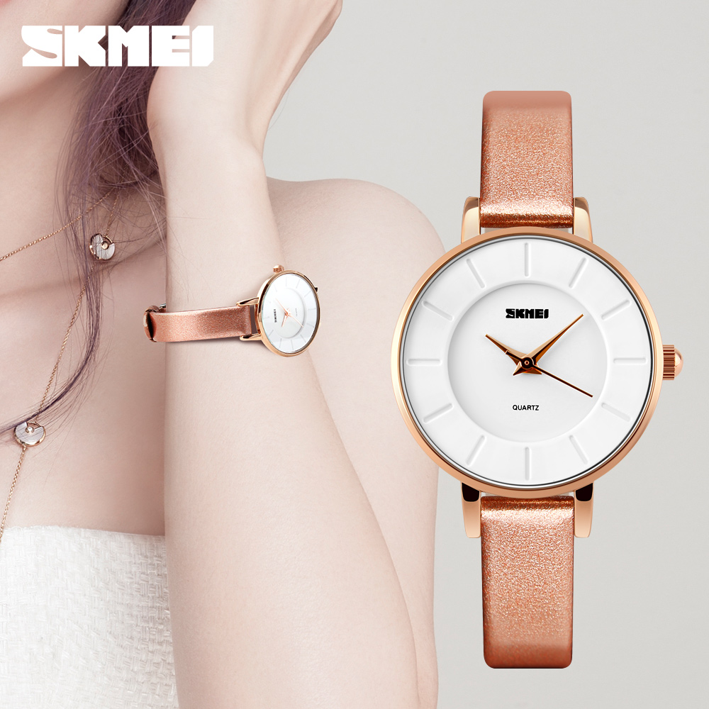 SKMEI 2016 New Brand Women Simple Watches 30M Waterproof Leather Strap Fashion Quartz Watch Student Wristwatches(China (Mainland))
