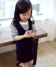 wholesale (5pcs/lot) 2016 spring Striped t-shirt and demin skirt 2 pcs set  for child girl(China (Mainland))
