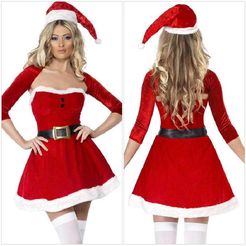 Three pieces set christmas dress strapless dress crop top hat sexy