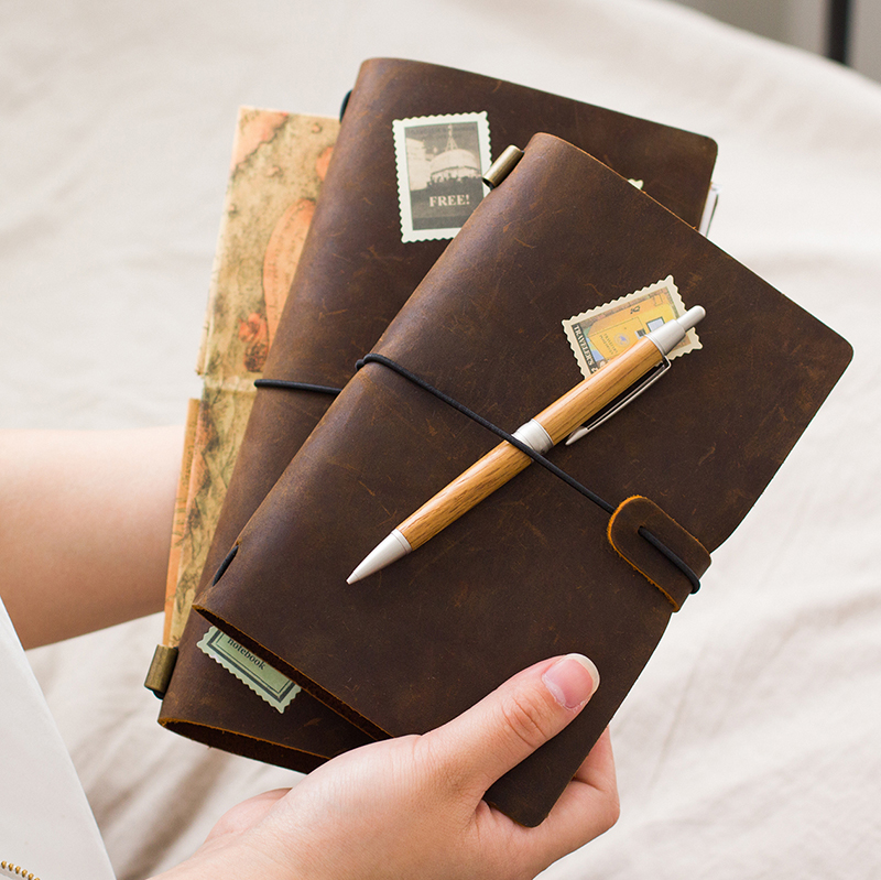 100% Genuine leather traveler's notebook travel diary journal handmade cowhide 3 brown colors gift with replacebale refills(China (Mainland))
