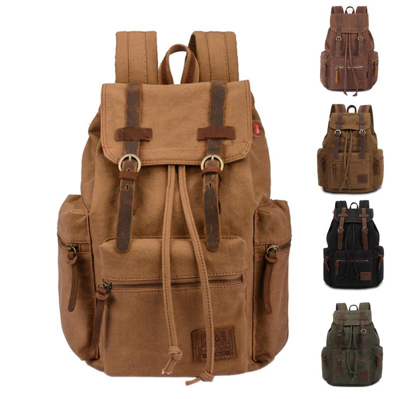 Vintage Men Casual Canvas Leather Backpack Rucksack Satchel Bag School Bag 5 Color BS88(China (Mainland))