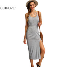 COLROVE Halter Sleeveless Backless Side Split Sheath Long Beach Ladies Cotton Dresses 2016 Summer Dress(China (Mainland))