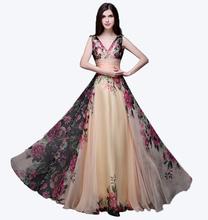 Long section Floor-Length Dress  Bohemian summer dress Elegant summer women Floral pattern women  high quality summer dress(China (Mainland))