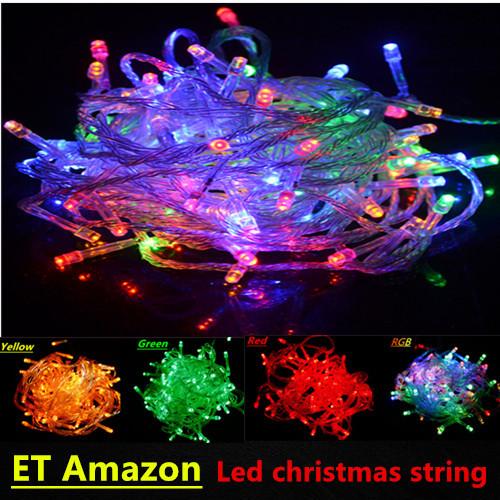 110V 220V Colorful Outdoor led Christmas Lighting 10m/100 leds for Holiday/Party/Wedding/Decoration US/EU Plug Free Shipping(China (Mainland))