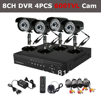 8CH Home Security DVR Recorder System 4PCS 600TVL SONY CCD IR Outdoor Surveillance CCTV Camera Kit HDD Sells Seperately