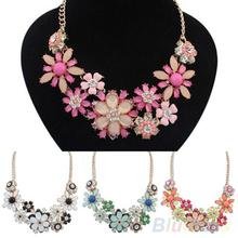 Women's Fashion Jewelry Flowers Bib Statement Necklace Chain Pendant
