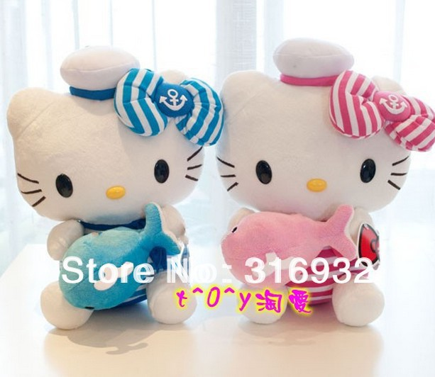 J1 Super cute navy design hello kitty plush doll toys with whale, 1pc, Christmas gift 30cm(China (Mainland))