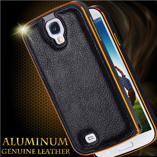 For Samsung S4 Shelll Aluminum Metal Frame Leather Case For Samsung Galaxy S4 SIV i9500 Back Cover PU Leather Aluminum Capa(China (Mainland))