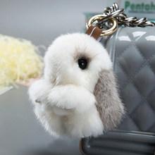 2018 Gril Bonito Pluff 8 cm Verdadeira Genuína Pele De Vison Coelho Keychain Chaveiro Mulheres Saco Quente Boneca Brinquedos Macios pom Pom Lindo Chaveiro(China)