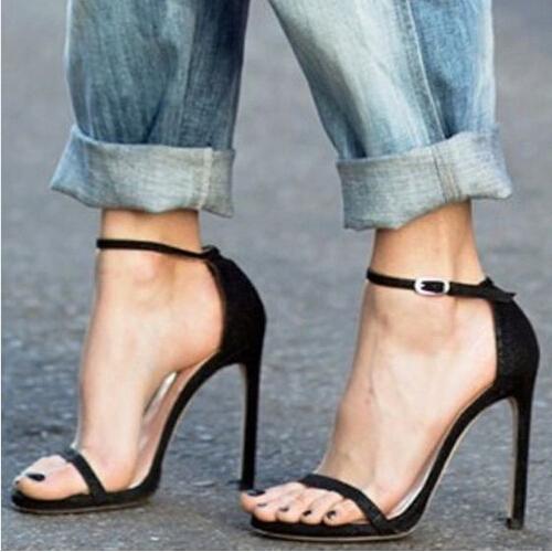 Hot Simple sexy Nudist Single Band Sandals Celebrities Women Ankle Strap Sandalias Dress Party Stilettos High Heel Sandals