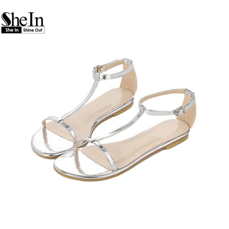 SheIn New Arrival Summer Style Plain Ladies Korean Casual Shoes Fashion Peep Toe Square Heel Buckle Flat Sandals<br><br>Aliexpress