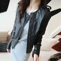 новые молнии кожезаменитель короткие мотоцикл куртка пальто блузы черный пиджак