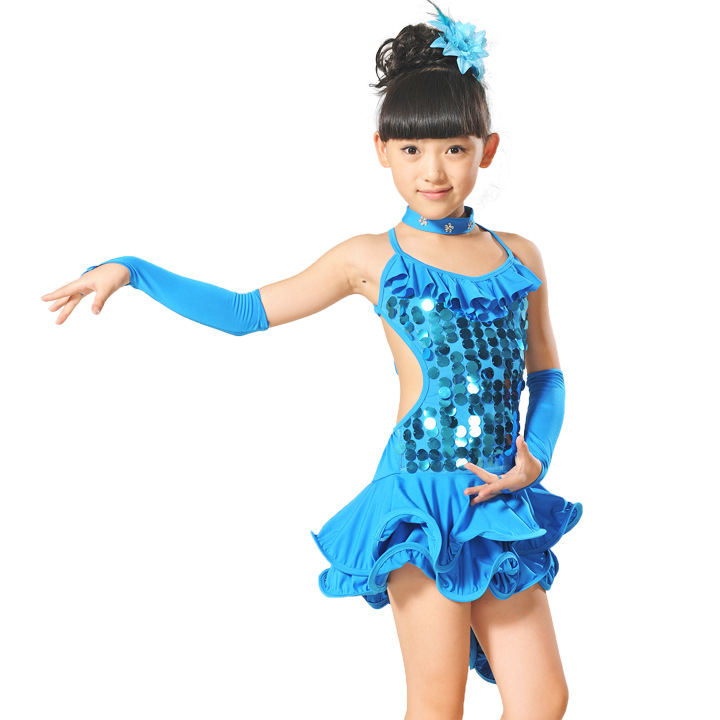 International Children's Day children's clothing costumes girls dress sequins dancing performance dresses for stage 120-160cm(China (Mainland))