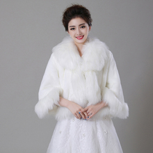 Women s Elegant Sexy Bridal Wraps 2017 Faux Fur Width Of Collar Horn Sleeve Fur Long Coat Winter Warm Fur Long Hair Jacket(China (Mainland))