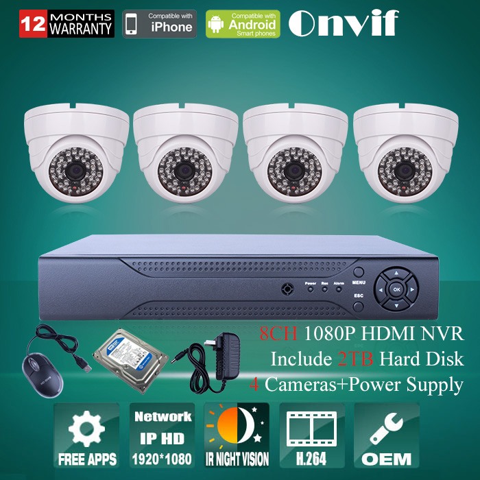 8CH H.264 Network CCTV System NVR  Recorde 1080P 48 IR Indoor Dome HD Network IP Camera Video System NVR Kit With 2TB HDD <br><br>Aliexpress