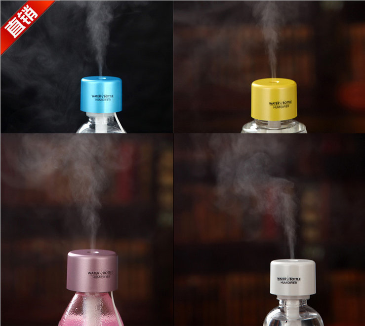 USB Portable ABS Water Bottle Cap Mini Humidifier DC 5V Car charger Office Air Diffuser Mist Maker with Absorbent Filter Stick(China (Mainland))
