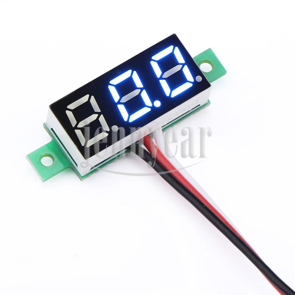 DC 0~100V Digital Voltmeter 0.28 inch Blue Led Voltage Monitor 12V 24V Volt Meter Car Motorcycle etc - Professional Converter & Panel Fun DIY store