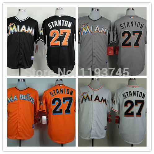 Factory Price Mens Miami Marlins Jerseys #27 Giancarlo Stanton Baseball Jersey,Embroidery and Sewing Logos,Size M-XXXL,Mix Order
