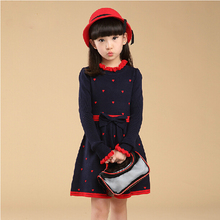 4-5678910-11year Children Winter Clothing Cotton Sweater Dress Teenage Girl One-Piece Sweater Dresses Child Princess Party Dress(China (Mainland))