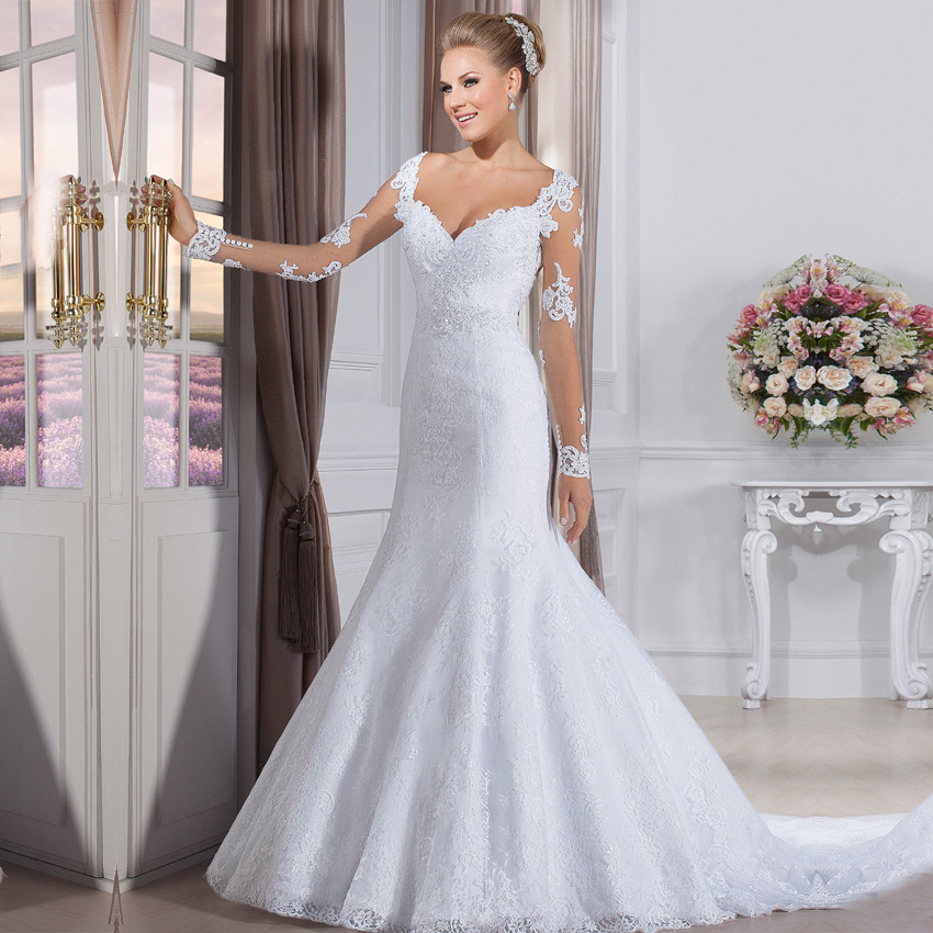Vestido de noiva cheap fashion wedding gowns china bride for Elegant long sleeve wedding dresses