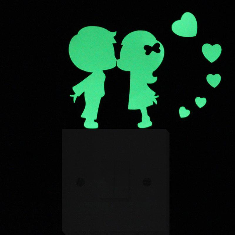 Fall in Love Luminous Switch Sticker Cute Cartoon DIY Wall Sticker Modern Home Decor Kids Room Decoration Self-Adhesive Sticker