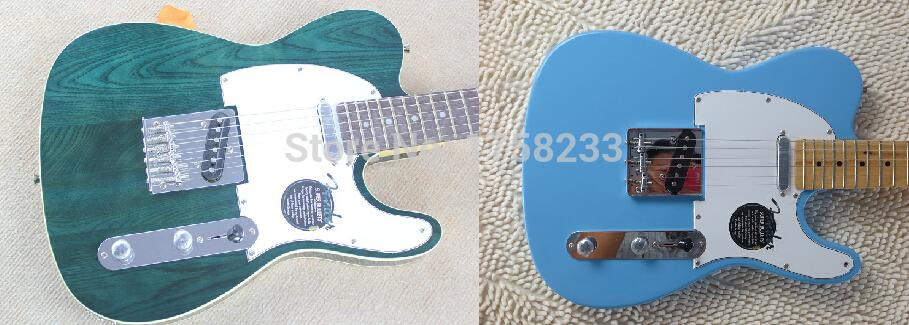 2019 Free shipping ! TELE solid body Guitars Telecaster Sky Blue color OEM Retro style Electric Guitar in stock(China (Mainland))