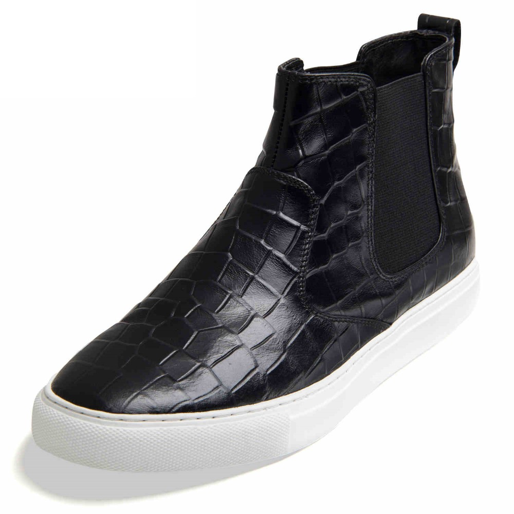 Men's casual high shoes blue crocodile leather autumn new high-top SUB1790(China (Mainland))