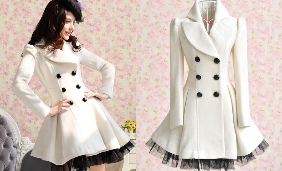 Promotion FreeShipping stylish double-breasted lapel long-sleeved jacket/coat forwomen/vintage coat/white plus size XXLYarnskirt