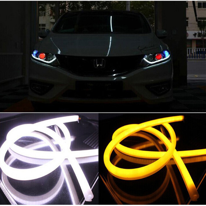 Free shipping 2Pcs/Lot 60cm 12W White+Yellow Flexible drl Switchback Strip led Daytime Running Lights With Turn Signal Light(China (Mainland))