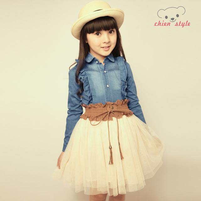2013 spring female child denim long-sleeve dress gauze skirt princess dress child