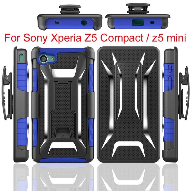 300pcs/lot Heavy Duty Rugged Armor Belt Clip Defender Holster Case For Sony Xperia Z5 Compact/ Mini Cover Skin Shockproof