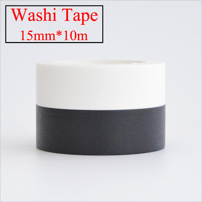 1pcs 15mm*10m Kawaii Scrapbooking Tools DIY Solid Color white black, Paper Washi Tapes Masking Tape Photographic tape 02492(China (Mainland))