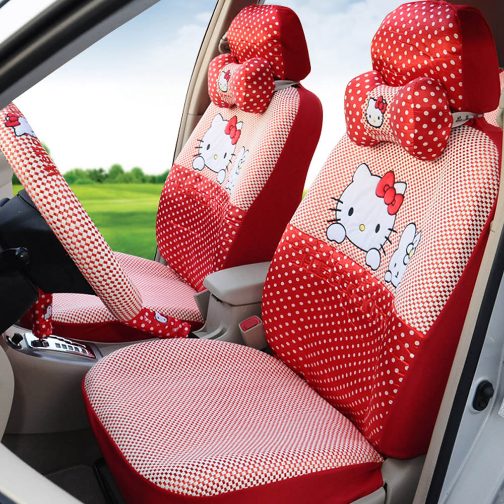 Hello Kitty 18pcs Ice Silk Red Lovely Car Seat Cover Set