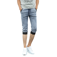 2016 Summer Mens Gray Denim Jean Men Calf-Length Pants Fashion Ripped Jean homme marquee Drawstring Male Pencil Pants Plus Size(China (Mainland))