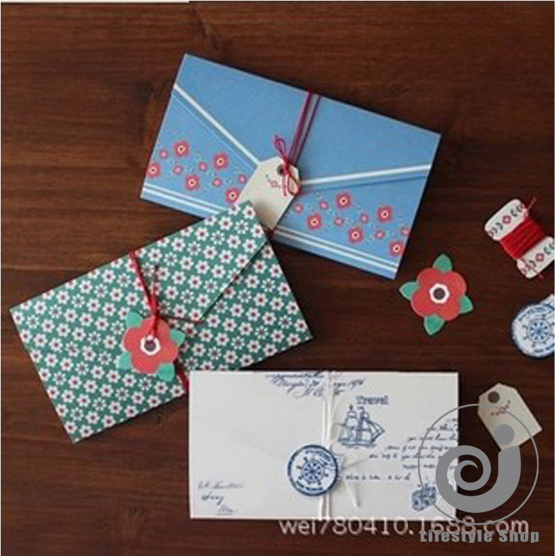 4 pcs/lot vintage floral folding greeting card thank you card birthday christmas card envelope writing paper stationery(China (Mainland))